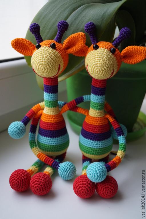 Развивающие игрушки ручной работы. Ярмарка Мастеров - ручная работа. Купить Слинго-игрушка радужный жираф. Handmade. Разноцветный
