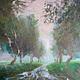 Пейзаж ручной работы. Ярмарка Мастеров - ручная работа. Купить картина маслом Дождик. Handmade. Зеленый, дождь, дождик, лес
