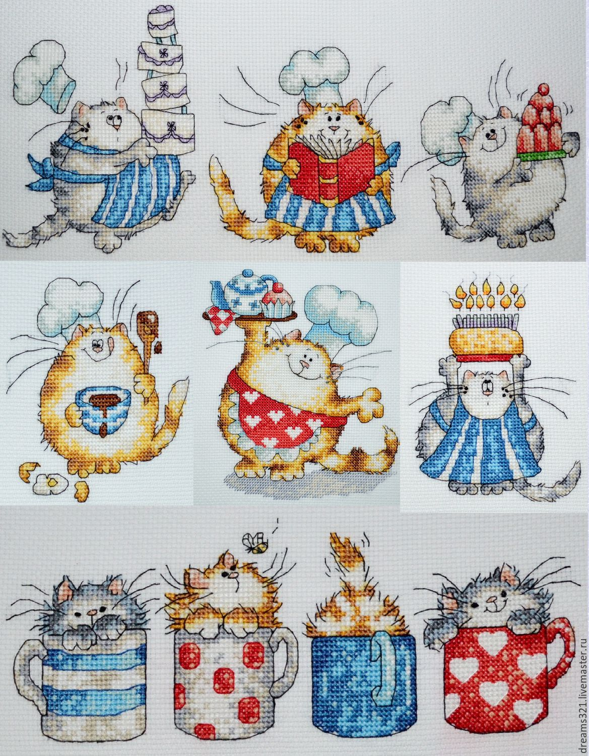 Fairy Tale Illustrations handmade. Livemaster - handmade. Buy Embroidered pictures for kitchen 'cats Margaret sherry'.Cats