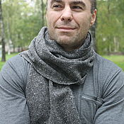Аксессуары handmade. Livemaster - original item Dark grey tweed scarf for men and women. Handmade.