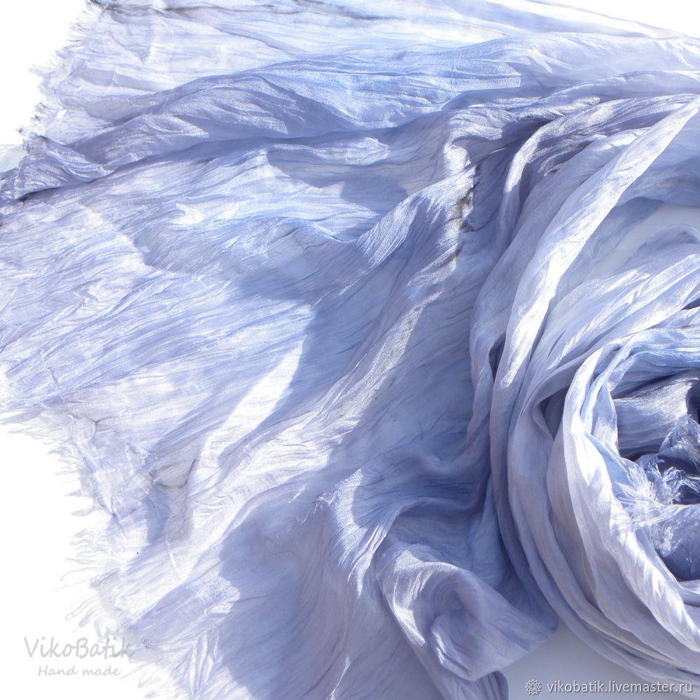 "Батик палантин ""Серебро"" из натурального шёлка ручного крашения серый, Wraps, Kislovodsk,  Фото №1"