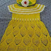 Работы для детей, ручной работы. Ярмарка Мастеров - ручная работа Платье и шапочка с розочкой. Handmade.