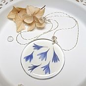 Украшения handmade. Livemaster - original item Transparent Resin Pendant with Real Blue Cornflower Petals. Handmade.