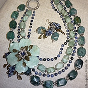 Украшения handmade. Livemaster - original item 4нити NECKLACE CARVED FLOWER + EARRINGS -sodalite Jasper aventurine.. Handmade.
