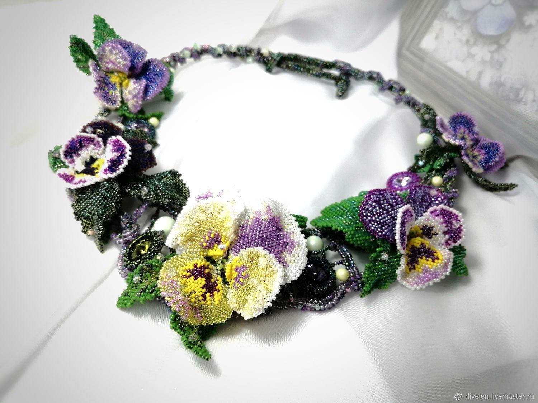 DEW ON VIOLETS. Beaded necklace, Necklace, Divnogorsk,  Фото №1