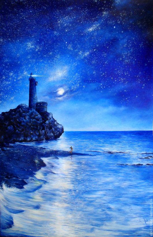 Пейзаж ручной работы. Ярмарка Мастеров - ручная работа. Купить Ассоль. Handmade. Синий, луна, маяк, морской пейзаж, холст