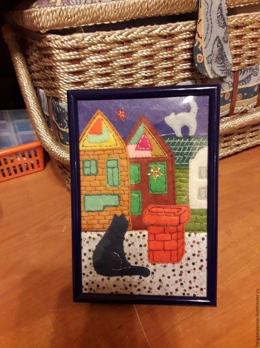 Город ручной работы. Ярмарка Мастеров - ручная работа. Купить Коты на крыше.Романтика. Handmade. Комбинированный, романтика, коты на крыше