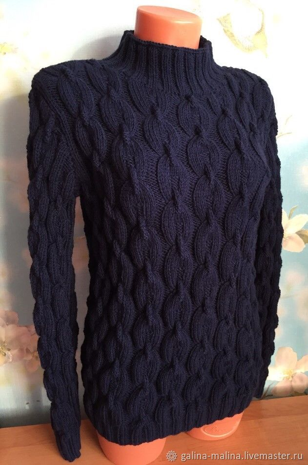 Sweater knitted 'Chain reaction', blue, Sweaters, Penza,  Фото №1