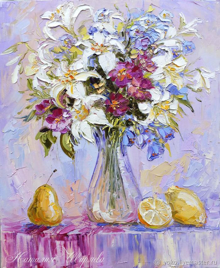 The picture lilies in a vase 'Bouquet of lilies and lemons' oil on canvas, Pictures, Voronezh,  Фото №1
