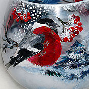 """Бокалы ручной работы. Ярмарка Мастеров - ручная работа Большой бокал """"Снегири"""". Handmade."""