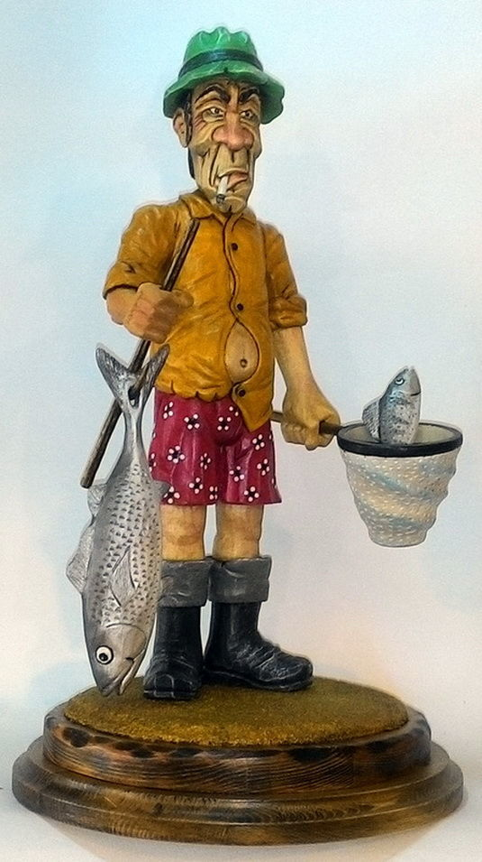 Fisherman-a decorative figure made of wood, Gifts for hunters and fishers, Voronezh,  Фото №1