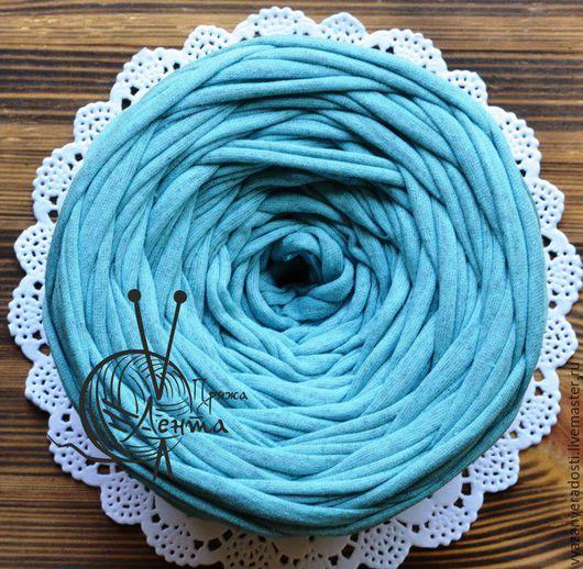 """Вязание ручной работы. Ярмарка Мастеров - ручная работа. Купить Пряжа """"Лента"""" (цвет голубой меланж). Handmade. Пряжа"""