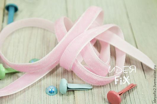 Лента бархатная розового цвета. Ширина 6 мм.  Цена указана за 1 метр.