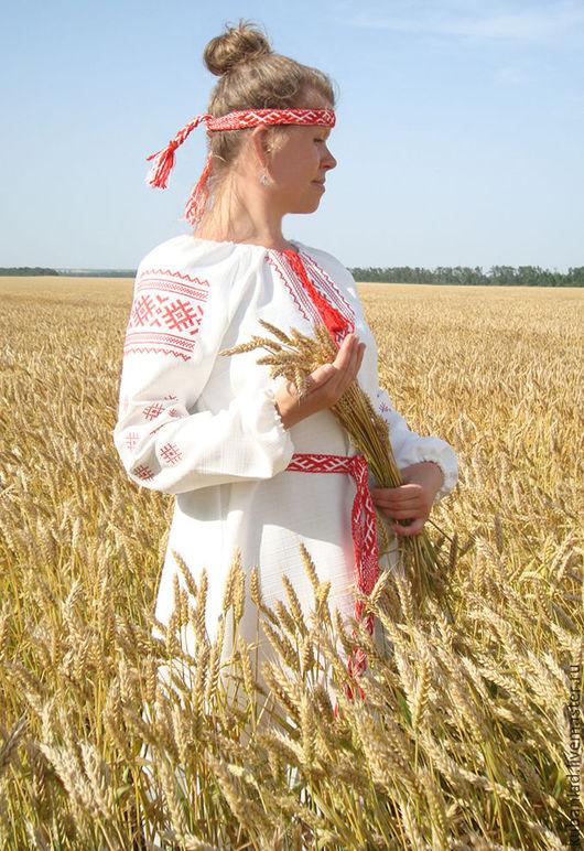 """Одежда ручной работы. Ярмарка Мастеров - ручная работа. Купить Женская вышитая льняная рубаха-платье """"Репейник"""". Handmade."""
