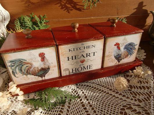 """Кухня ручной работы. Ярмарка Мастеров - ручная работа. Купить Набор коробов для кухни """" Петушки"""". Handmade. Короб для специй"""