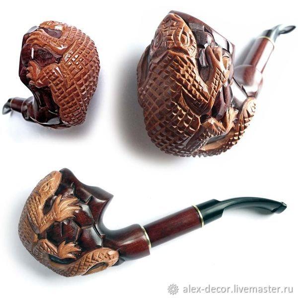Подарки для мужчин, ручной работы. Ярмарка Мастеров - ручная работа. Купить Курительная трубка объемная 'VARAN'. Handmade. Трубка, коричневый