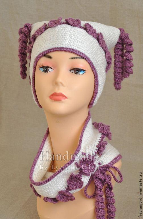 Шапки и шарфы ручной работы. Ярмарка Мастеров - ручная работа. Купить Детская вязаная зимняя шапочка и снуд НЕЗАБУДКИ. Handmade.