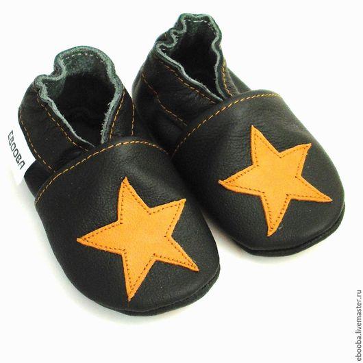 Чешки тапочки пинетки звезда коричневая на чёрном ebooba