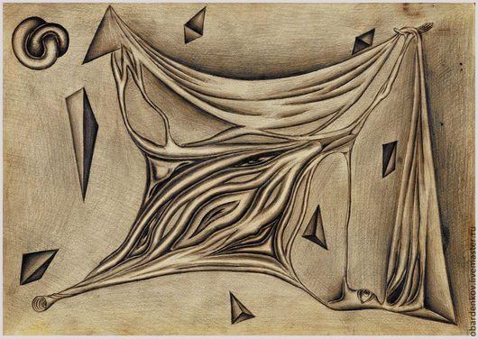 Абстракция ручной работы. Ярмарка Мастеров - ручная работа. Купить я.... Handmade. Чёрно-белый, графика, рисунок, абстракция, сюрреализм, бумага