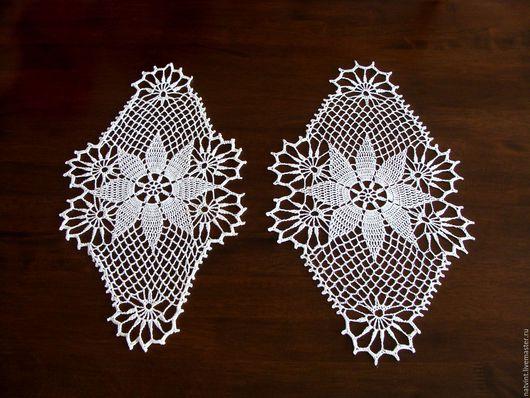 """Винтажные предметы интерьера. Ярмарка Мастеров - ручная работа. Купить Р... Белые овальные салфетки крючком """"Снежинки"""", винтаж, Германия. Handmade."""