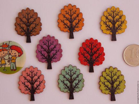 Другие виды рукоделия ручной работы. Ярмарка Мастеров - ручная работа. Купить Пуговицы деревянные Деревья. Handmade. Комбинированный
