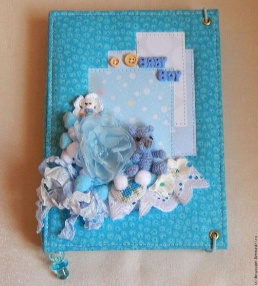 """Блокноты ручной работы. Ярмарка Мастеров - ручная работа. Купить Мамин блокнот """"Мишки"""". Handmade. Голубой, подарок малышу"""
