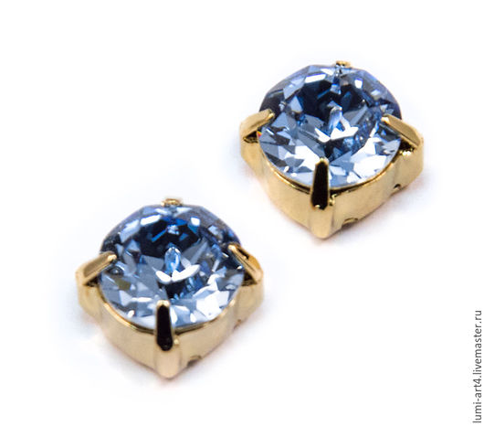 Для украшений ручной работы. Ярмарка Мастеров - ручная работа. Купить Chaton 8mm Light Sapphire в оправе Золото шатоны Сваровски Xirius 1088. Handmade.