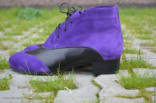 Обувь ручной работы. Ярмарка Мастеров - ручная работа. Купить Ботиночки комбинированные на каблучке. Handmade. Тёмно-фиолетовый, ботиночки