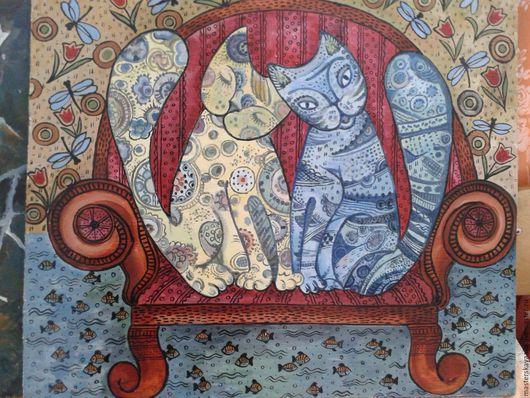 Фантазийные сюжеты ручной работы. Ярмарка Мастеров - ручная работа. Купить Забавные коты. Handmade. Панно на стену, панно настенное