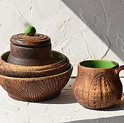 """Посуда ручной работы. Ярмарка Мастеров - ручная работа Набор """"Деревенская посуда"""". Handmade."""