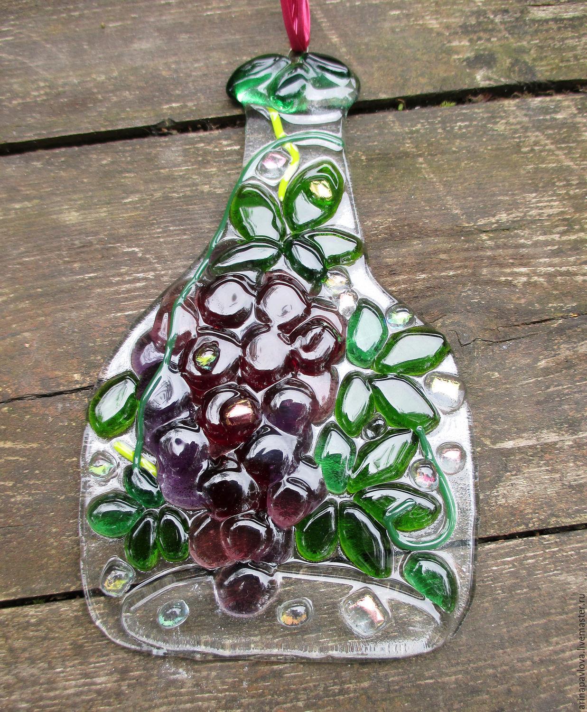 декоративная бутылка, бутылка фьюзинг, бутылка из цветного стекла, стеклянная бутылка, бутылка, декор для дома дачи, стеклянный декор