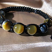 Украшения handmade. Livemaster - original item Shamballa bracelet with Falcon eye