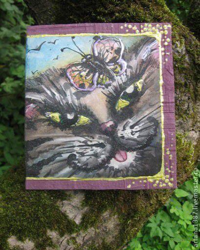 """Открытки на все случаи жизни ручной работы. Ярмарка Мастеров - ручная работа. Купить Авторская открытка """"Кот и бабочка"""". Handmade. акварель"""