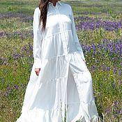 Одежда handmade. Livemaster - original item White, summer kaftan dress with flounces and long sleeves KA0337SL. Handmade.