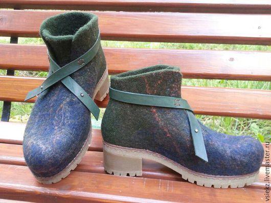 Обувь ручной работы. Ярмарка Мастеров - ручная работа. Купить Ботинки валяные. Handmade. Тёмно-зелёный, зимняя обувь