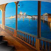 """Дизайн и реклама ручной работы. Ярмарка Мастеров - ручная работа Роспись стены """"Ночной город"""". Handmade."""