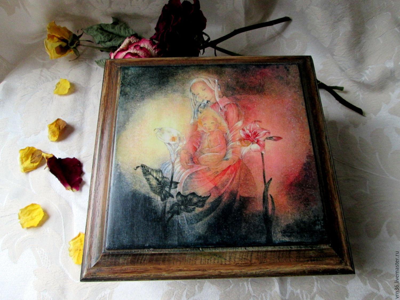 "Trinket Boxes handmade. Livemaster - handmade. Buy Дубовая шкатулка ""Три цветка"".Jewelry box, handmade to purchase"