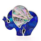 Украшения handmade. Livemaster - original item Brooch elephant. Lapis lazuli, mother of pearl. Exclusive brooch.. Handmade.