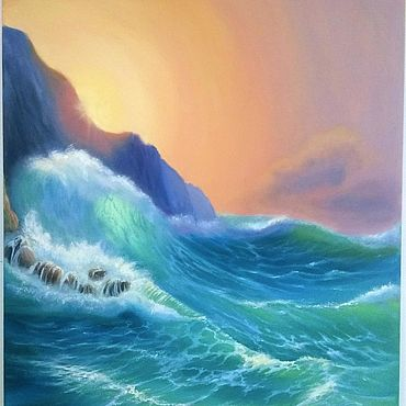 """Картины и панно ручной работы. Ярмарка Мастеров - ручная работа """"Море скалы обнимало..."""", холст 40х50. Handmade."""