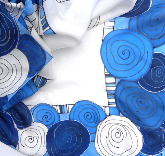 Шелковый платок Стильный платок Синий белый голубой платок Морской стиль Аксессуары Ручная роспись Батик платок Виктория Кисловодск