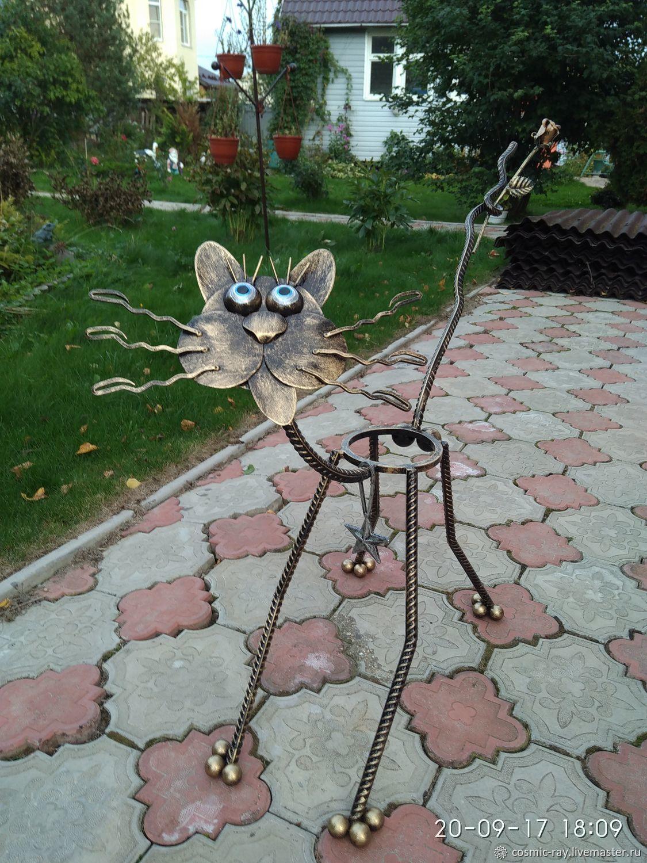 Кот c яйцами подставка для цветов кашпо цветочница кованый