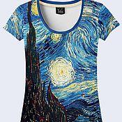 """Одежда ручной работы. Ярмарка Мастеров - ручная работа Футболка """"Звездная ночь"""" Ван Гог. Handmade."""