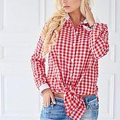 Блузки ручной работы. Ярмарка Мастеров - ручная работа Рубашка с контрастными манжетами. Handmade.