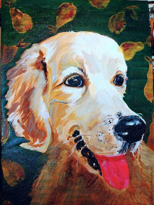 """Животные ручной работы. Ярмарка Мастеров - ручная работа. Купить Картина """"Собака Груша"""". Handmade. Зеленый, животные, кошка"""