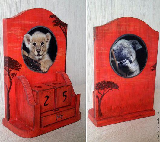 """Календари ручной работы. Ярмарка Мастеров - ручная работа. Купить Вечный календарь """"Львенок"""". Handmade. Оранжевый, настольный, львенок"""