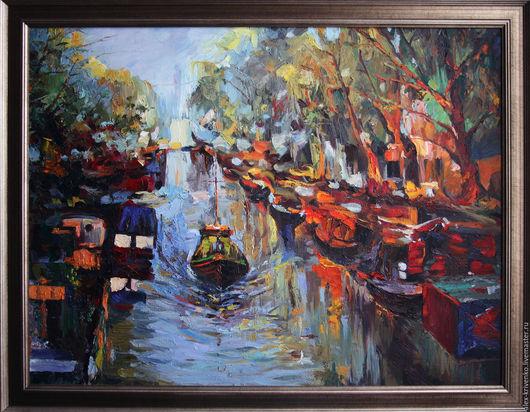Пейзаж ручной работы. Ярмарка Мастеров - ручная работа. Купить Лондонская Венеция.. Handmade. Тёмно-синий, пейзаж с водой, пейзаж