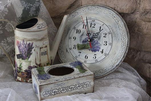 """Кухня ручной работы. Ярмарка Мастеров - ручная работа. Купить Набор для кухни """"Прованс""""-салфетница,часы и лейка. Handmade. Прованс"""
