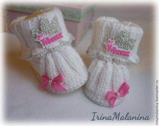 """Для новорожденных, ручной работы. Ярмарка Мастеров - ручная работа. Купить Пинетки вязанные """"принцесса"""". Handmade. Белый, пинетки для новорожденных"""