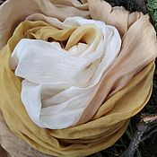 Аксессуары ручной работы. Ярмарка Мастеров - ручная работа Шелковый шарф Нуга и карамель, женский большой шарф экоокрашивание. Handmade.