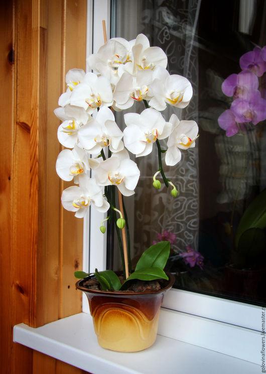 Интерьерные композиции ручной работы. Ярмарка Мастеров - ручная работа. Купить Белая каскадная орхидея из полимерной глины. Handmade. Белый